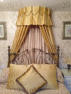 Ornate swag and tail style bed coronet with curtains. Location West Yorkshire | Beddie Bye | Pinterest | West yorkshire Pelmets and Canopy & Ornate swag and tail style bed coronet with curtains. Location ...
