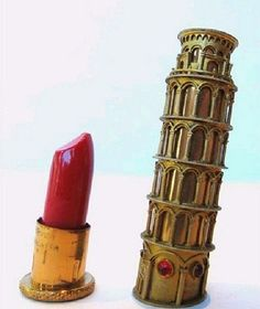 Leaning Tower of Pisa lipstick case, ca. 1950. Louis Nichilo