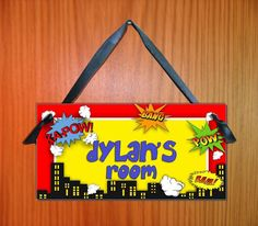 Kids door signs Boys Super Hero Comics bedroom by kasefazem, $6.99
