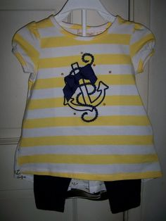 88373a445e130 MAGGIE  amp  ZOE Yellow striped Top Dress with ship anchor and pants to  match 12M