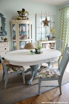 Dining Table and Chairs makeover with Chalk Paint® decorative paint by Annie Sloan. Painted in Old White and Duck Egg Blue.