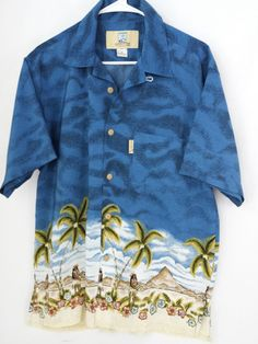 Coconut Pier Men's Shirt with Hawaiian Hula Girls Medium FREE SHIPPING  #Hawaiian