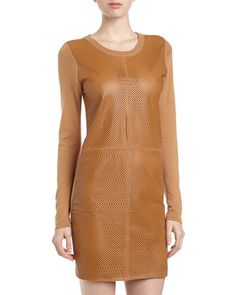 Leather-Front Sweater Dress, Camel by Neiman Marcus at Neiman Marcus Last Call.