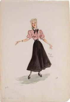 Edith Head costume sketch of Betty Hutton for Somebody Loves Me