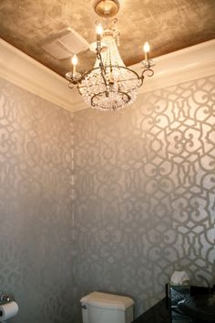 Metallic Stenciled Powder Bathroom by Bella Tucker Decorative Finishes
