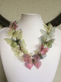 Spring - Handmade Butterfly Necklace with Silk Organza Ivory, Pink, Light Blue and Green Butterflies and Moths - One of a Kind by TheButterfliesShop on Etsy