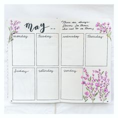 "189 Likes, 12 Comments - Bullet Journal and lettering (@my.first.bu.jo) on Instagram: ""New week spread with new flowers!  Hope you like it! ☺️ . . . . . #bujo #bujolover #bulletjournal…"""