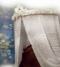 Antique French bed ciel de lit half tester bed canopy shabby chic ...