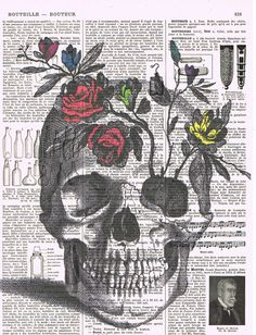 Rose.Skull,flowers.skeleton head.Colour.Antique French Book Page Print.Birthday. Gift,buy 3 get 1 free,home deco, wall.mom.steampunk