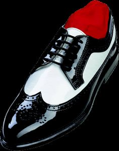 black & white wingtip shoes
