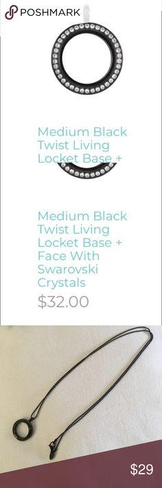 "Black Medium Locket face with 30"" black ball chain Black screw on Locket Face w Swarovski Crystals & 30"" black Ball Chain. NWT Origami Owl Jewelry Necklaces"