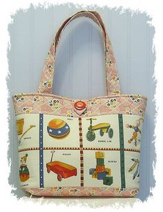 VINTAGE TOYS and a Coordinating Print both called Look and Learn- 2 Pockets- Stacked Button- Large Tote Bag
