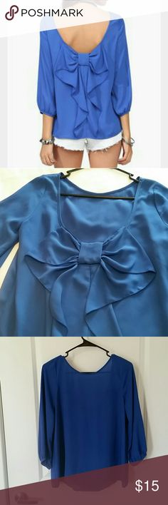 Blue Waldorf bow blouse from Necessary Clothing Pretty and unique bow back blouse 'Waldorf' from Necessary Clothing in a solid royal blue color. Only worn once, in excellent condition! Necessary Clothing Tops Blouses