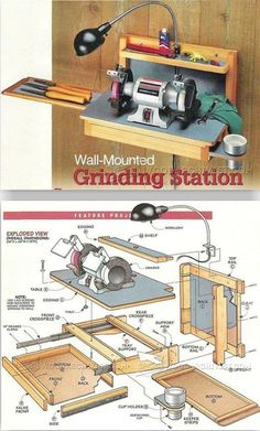 Wall-Mounted Grinder Sharpening Station Plans - Sharpening Tips, Jigs and Techniques Woodworking Joints, Woodworking Workbench, Woodworking Workshop, Woodworking Techniques, Woodworking Projects Diy, Woodworking Furniture, Woodworking Tools, Wood Projects, Garage Workbench