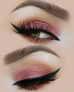 Makeup - Plum Pink & Light Brown/Gold Eyeshadow with Black Winged Eyeliner & Mascara