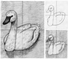 How to draw and shade a swan. Art Projects for Kids