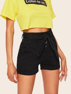 Pocket Patched Self Belted Buttoned Denim Shorts Casual Shorts, Denim Shorts, Black Jean Shorts, Type Of Pants, Size Model, Fashion News, Patches, Buttons, Belt