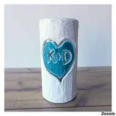 Handmade Couple's Vase with Teal Heart