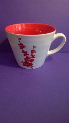 Starbucks Coffee Cup Mug 2008 Red Orange Cherry Blossom Flowers Floral 12 oz