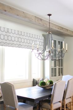 Breakfast nook with Orient Express table, Circa lighting chandelier, and custom roman shades and pillows. Lane Furniture, Dining Room Furniture, Traditional Dining Rooms, Large Chandeliers, Wall Paint Colors, Interior Decorating, Interior Design, Beautiful Homes, Bedroom Decor