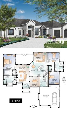 Discover the plan 3253 - Clarendon from the Drummond House Plans house collection. Mediterranean 3 bedroom house plan, with ceilings, double garage and lanai. Total living area of 2495 sqft. Florida House Plans, Beach House Plans, Family House Plans, Cottage House Plans, New House Plans, Dream House Plans, Modern House Plans, Stone House Plans, Sims House Plans