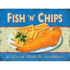 Retro Metal Wall Sign Tin Plaque Old Vintage Style Fish And Chips Cafe Kitchen Vintage Shops, Retro Vintage, Vintage Style, Retro Style, Vintage Decor, British Fish And Chips, Fisher, British Traditions, Chip Art