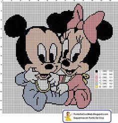 Baby Mickey and Minnie - In Point Cru Disney Cross Stitch Patterns, Cross Stitch For Kids, Cross Stitch Baby, Cross Stitch Charts, Cross Stitch Designs, Beaded Cross Stitch, Cross Stitch Embroidery, Embroidery Patterns, Mickey E Minnie Mouse