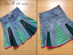Wire and my .: DIY: Recycle an old jeans in skirt Diy Jupe Jean, Jean Diy, Old Jeans, Denim Jeans, Denim Skirts, Recycle Jeans, Upcycle, Refaçonner Jean, Jeans Refashion