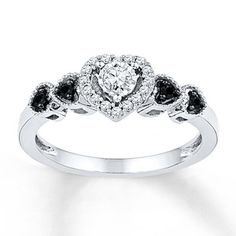 Kay Jewelers Black/White Diamonds 1/5 ct tw Promise Ring Sterling Silver- Promise Rings