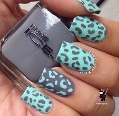 mint green and gray leopard