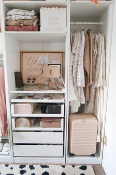 Blush and Gold Cloffice + Organization - Money Can Buy Lipstick- - wardrobe. - Blush and Gold Cloffice + Organization – Money Can Buy Lipstick- – wardrobe. Ikea Pax Wardrobe, Wardrobe Room, Diy Wardrobe, Closet Bedroom, Bedroom Decor, Walk In Wardrobe Design, Ikea Pax Closet, Master Closet, Wardrobe Ideas