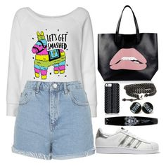 """""""Untitled #1756"""" by anarita11 ❤ liked on Polyvore featuring Topshop, adidas Originals, RED Valentino and Savannah Hayes"""