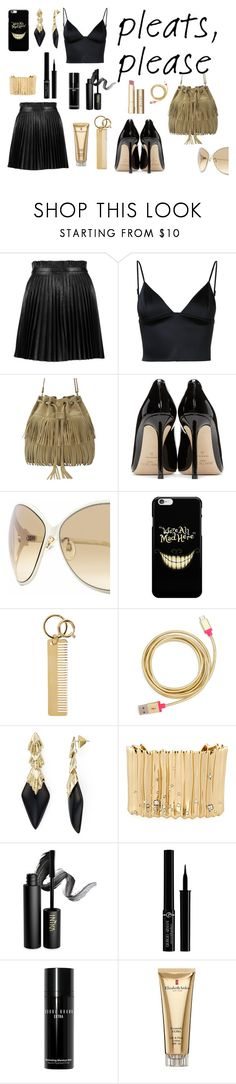 """""""Black and gold pleats outfit"""" by cissyloveshogwarts on Polyvore featuring Mode, RED Valentino, T By Alexander Wang, Jimmy Choo, Roberto Cavalli, Sophie Hulme, ban.do, Alexis Bittar, INIKA und Giorgio Armani"""
