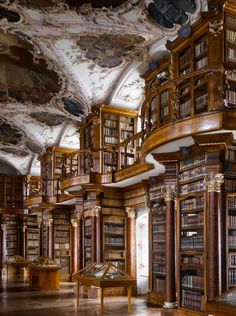 """Abbey of St Gall Library, 1763. St Gallen, Switzerland. The library has many forms of decoration, including putti in niches above the cases, representing the mechanical disciplines and the fine arts.From """"The Library: A World History"""" by Cambridge University architectural historian James Campbell and photographer Will Pryce. Photo: Will Pryce / This picture can only be used with prior permission and/or agreement of fees with Will Pryce."""