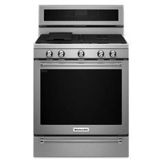KitchenAid 5-Burner Freestanding 5.8-cu Self-Cleaning Convection Gas Range (Stainless Steel) (Common: 30-in; Actual: 29.87-in)