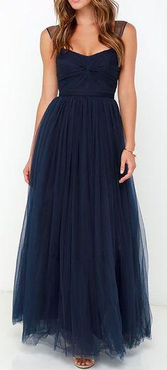 Garden Tulle Navy Blue Maxi Dress