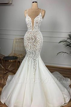 Mermaid wedding dresses shows the beautiful curve of the brides perfectly.Visit Yesbabyonline store to shop Spaghetti Straps V-neck Mermaid Lace Sexy Wedding Dresses Lace Beach Wedding Dress, Fit And Flare Wedding Dress, Sexy Wedding Dresses, Cheap Wedding Dress, Bridal Dresses, Wedding Gowns, Backless Wedding, Beaded Wedding Dresses, Prom Dresses