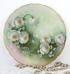Antique Hand Painted Roses Artist Signed Limoges France Plate Jean Pouyat Mark  #antiqueroses #limogesfrance