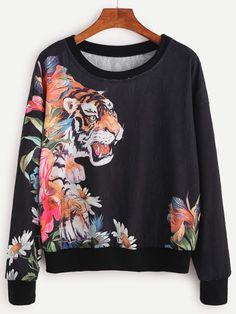 Black Tiger Print Drop Shoulder Sweatshirt