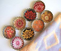 Bohemian Floral Patterns-Up-cycled Bottlecap Magnets with Hand-sewn Up-cycled Gift Pouch- Set of 8- Recycled and Eco-Friendly