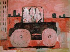 City Limits - Philip Guston, 1969  In City Limits, Guston's hooded characters squeeze into a car, like clowns, as if to go cause trouble in town. His Klansmen often undertook myriad tasks in his paintings, but more than most, this image reflects an aspect of Guston's original motivation for switching back towards realism: a growing fear at the spread of political disorder and upheaval in America.