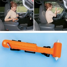 """NEW! Escape Hammer - Powerful pointed carbon steel ends quickly smash through side windows in case power is disrupted or manual operation is impeded. Safety razor edge in handle slices through a jammed seat belt which might hinder your exit. Includes mounting bracket and safety caps. 7"""" long in high visibility orange plastic with glow in the dark tab on handle so you can quickly locate at night. (7""""L x 2-14""""W) (Product Number BW5140) $12.98 CAD"""