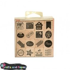 Crafts and paper Σφραγίδα ξύλινη σετ 16τεμ. ασορτί
