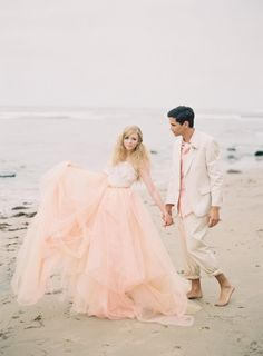 Blush and White Tulle Beach Bridal Gown