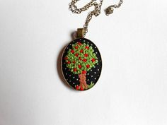 Apple tree necklace Unique necklaces for women Embroidery