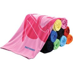 Terry velour, 100% cotton twill hemmed colored promotional beach towel.