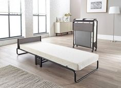 Jay-Be Inspire Folding Bed with Memory Foam Mattress and Headboard (Regular - Grey anthracite, Size Twin XL Daybed Mattress, Best Mattress, Foam Mattress, Bedroom Furniture Stores, Furniture Deals, Lidl, Bed Frame Risers, Folding Guest Bed, Fold Up Beds