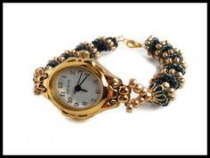 Women's Black Gold Hand Beaded Wrist Watch | Spiral Rope Band Ladies Water Resistant Wrist Watch | Lady Green Eyes Jewelry by LadyGreenEyesJewelry on Etsy