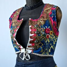 Czech Antique Moravian Gold and Blue Silk Brocade Embroidered Metallic Gold Buillon Lace Folk Costume Cropped Bolero Vest Gypsy