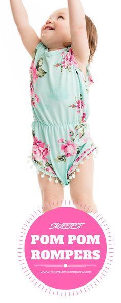 4a78506ae89f Fancy Pants. Cutest Floral Pom Pom Rompers!!!